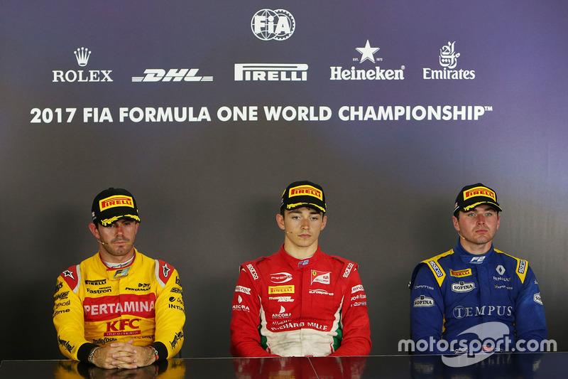 Conferencia de prensa: ganador de la carrera Charles Leclerc, PREMA Powerteam, segundo Norman Nato,