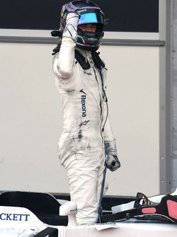 Lance Stroll, Williams celebrates in parc ferme