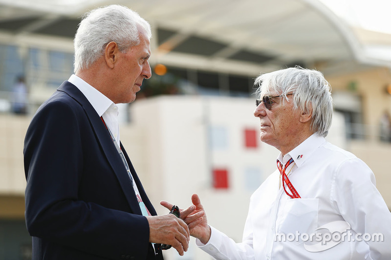 Marco Tronchetti Provera, Executive Vice Chairman and Chief Executive Officer, Pirelli, with Bernie Ecclestone, Chairman Emiritus of Formula 1