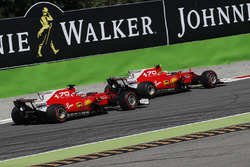 Sebastian Vettel, Ferrari SF70H and Kimi Raikkonen, Ferrari SF70H battle
