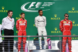 Usain Bolt, James Allison, Mercedes AMG F1 Technical Director, Race winner Lewis Hamilton, Mercedes AMG F1, second place Sebastian Vettel, Ferrari, third place Kimi Raikkonen, Ferrari