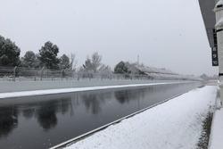 La neve sul tracciato di Barcellona