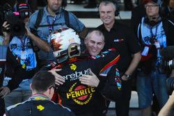 David Reynolds, Erebus Motorsport Holden, celebrates victory with his team