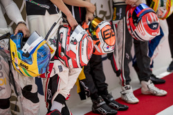Helmets of Sergio Sette Camara, Carlin, George Russell, ART Grand Prix, Jack Aitken, ART Grand Prix, Santino Ferrucci, Trident