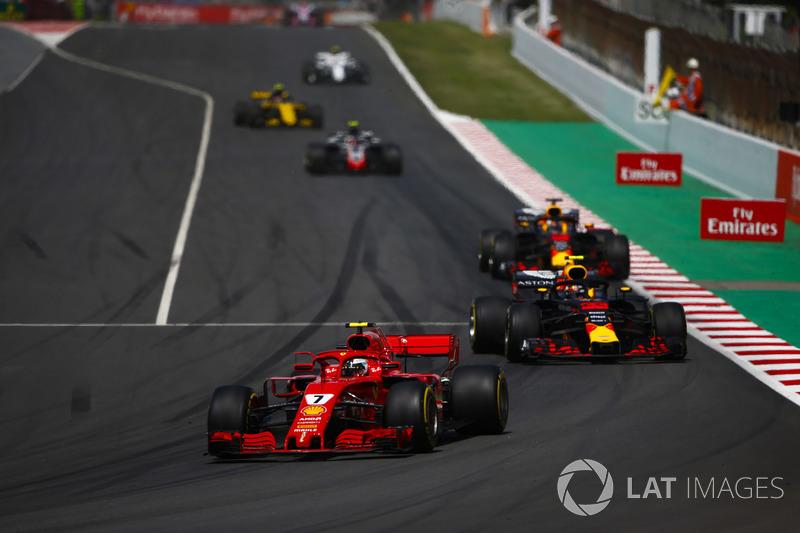 Kimi Raikkonen, Ferrari SF71H, Max Verstappen, Red Bull Racing RB14, and Daniel Ricciardo, Red Bull Racing RB14, behind the safety car