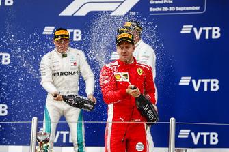 Second place Valtteri Bottas, Mercedes AMG F1, Race winner Lewis Hamilton, Mercedes AMG F1, third place Sebastian Vettel, Ferrari, on the podium