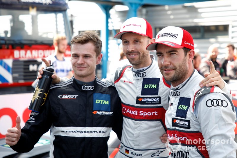 Top 3 after Qualifying, Pole sitter René Rast, Audi Sport Team Rosberg, Jonathan Aberdein, Audi Sport Team WRT, Mike Rockenfeller, Audi Sport Team Phoenix