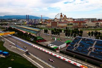 Sergio Perez, Racing Point Force India VJM11, leads Sergey Sirotkin, Williams FW41