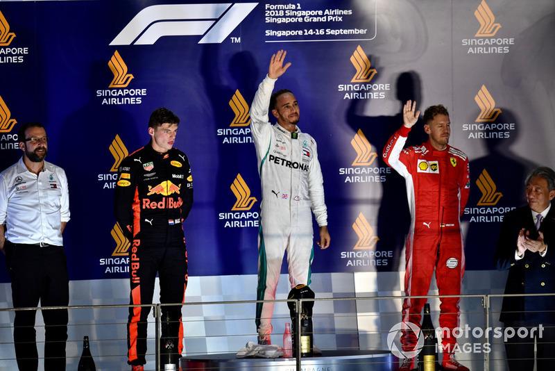 Max Verstappen, Red Bull Racing, Lewis Hamilton, Mercedes AMG F1 y Sebastian Vettel, Ferrari