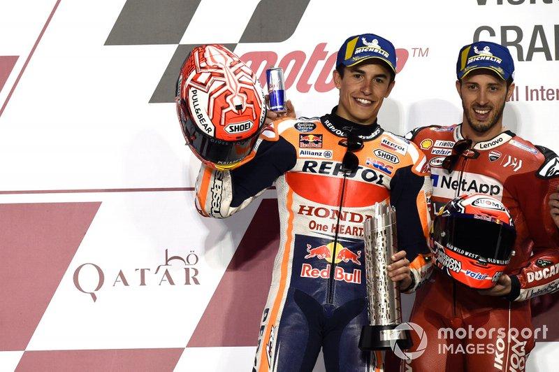 Подіум: друге місце Марк Маркес, Repsol Honda Team, переможець гонки Андреа Довіціозо, Ducati Team