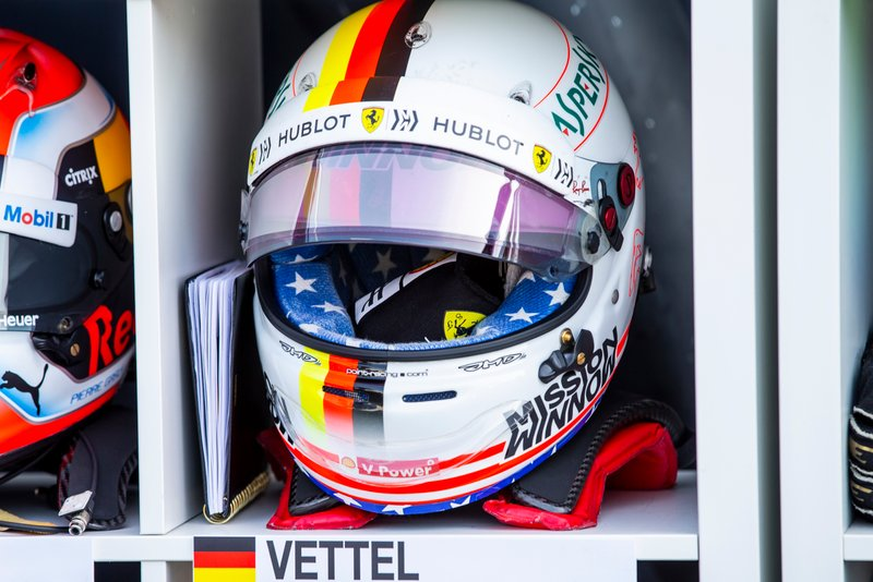 The helmet of Sebastian Vettel