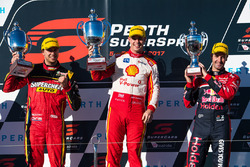 Podium: race winner Scott McLaughlin, Team Penske Ford, second place Chaz Mostert, Rod Nash Racing Ford, third place Jamie Whincup, Triple Eight Race Engineering Holden