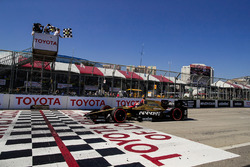 James Hinchcliffe, Schmidt Peterson Motorsports Honda, takes the checkered flag