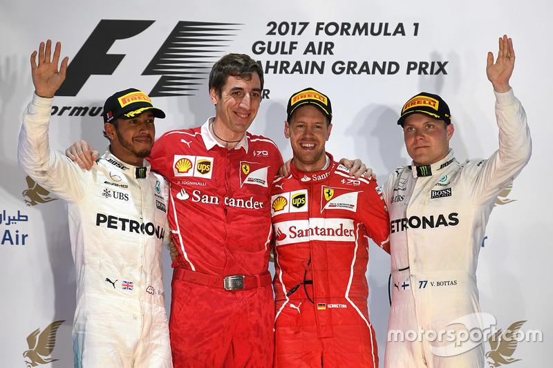 Bahreyn GP - Kazanan Sebastian Vettel, 2. Lewis Hamilton, 3. Valtteri Bottas