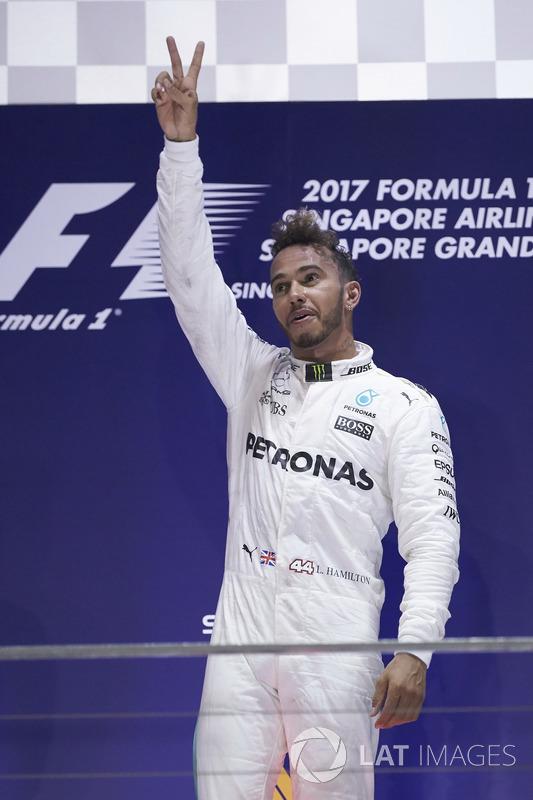 Race winner Lewis Hamilton, Mercedes AMG F1, celebrates victory on the podium