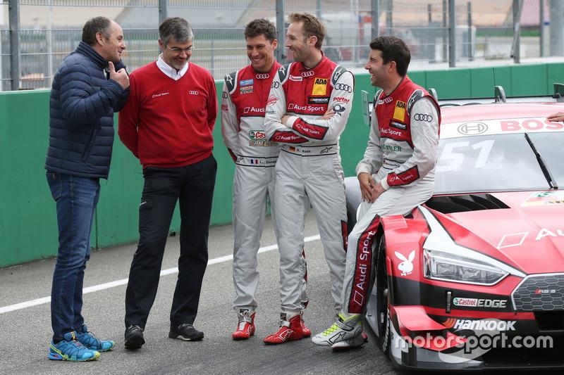 Председатель ITR Герхард Бергер, глава Audi Sport Дитер Гасс, Лоик Дюваль, Audi Sport Team Phoenix, Рене Раст, Audi Sport Team Rosberg, Майк Роккенфеллер, Audi Sport Team Phoenix