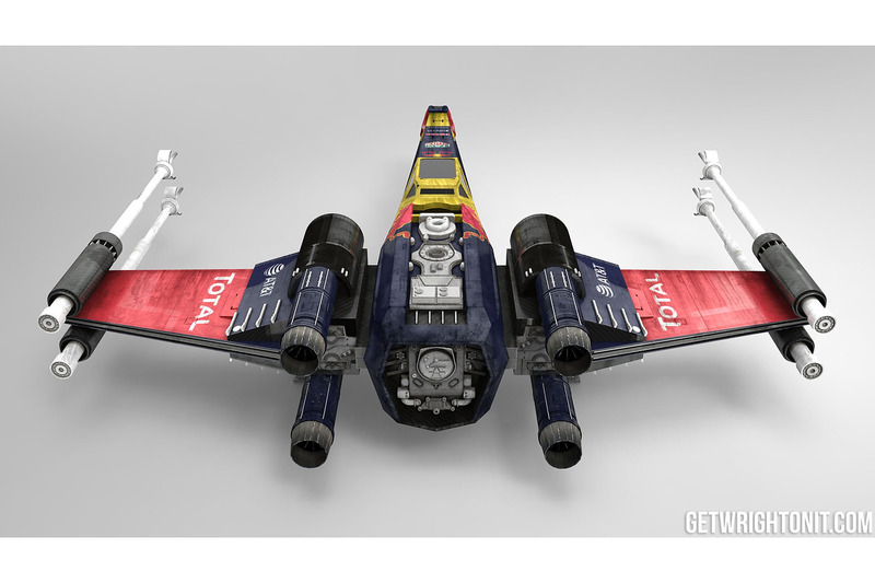 Star Wars X-Wing mit Red Bull Racing-Design