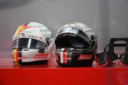 Sebastian Vettel, Ferrari helmet and HANS device