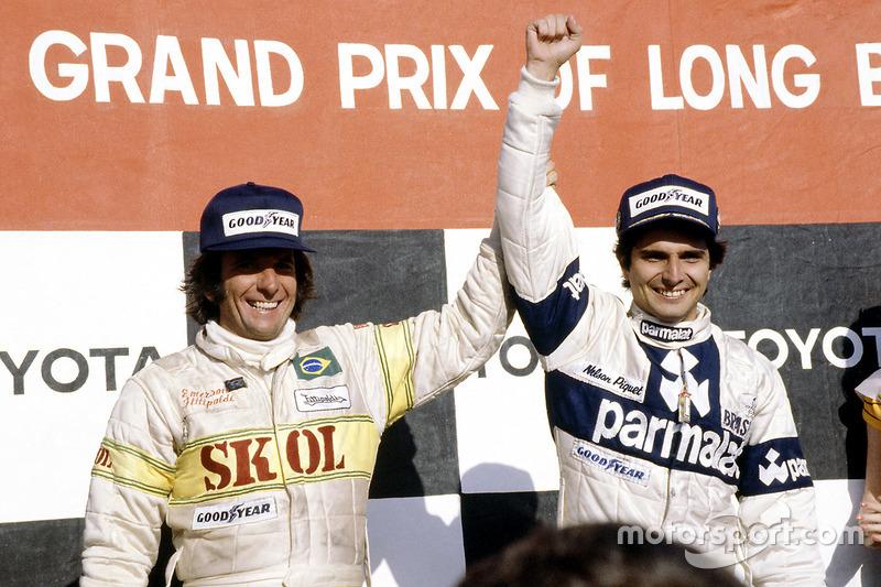Le vainqueur Nelson Piquet, Brabham BT49-Ford Cosworth; le troisième Emerson Fittipaldi, Fittipaldi F7-Ford Cosworth