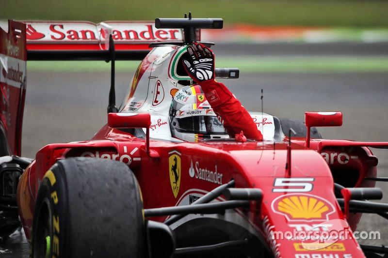 Sebastian Vettel, Ferrari celebrates his third position at the end of the race