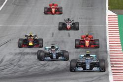 Валттері Боттас, Льюіс Хемілтон, Mercedes AMG F1 W09,Макс Ферстаппен, Red Bull Racing RB14, Кімі Райкконен, Ferrari SF71H, Ромен Грожан, Haas F1 Team VF-18, Себастьян Феттель, Ferrari SF71H