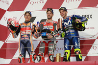 Podium: Race winner Andrea Dovizioso, Ducati Team, second place Marc Marquez, Repsol Honda Team, third place alentino Rossi, Yamaha Factory Racing