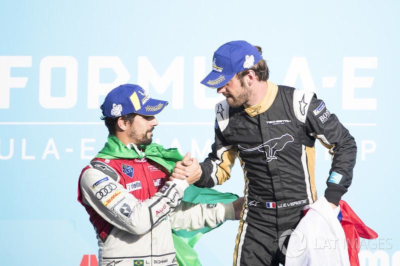 Lucas di Grassi, Audi Sport ABT Schaeffler, Jean-Eric Vergne, Techeetah, festeggia sul podio