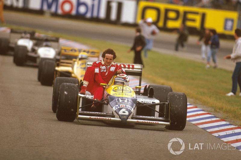 Hockenheim 1987: Alain Prost (McLaren) menumpang Nelson Piquet (Williams)