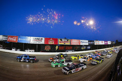 Four-wide pace laps, fireworks