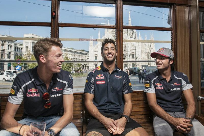 Daniel Ricciardo, Carlos Sainz Jr. und Daniil Kvjat in Mailand