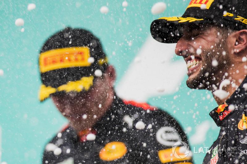 Max Verstappen, Red Bull Racing, race winner, third place Daniel Ricciardo, Red Bull Racing, spray Champagne on the podium