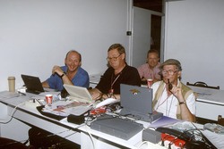 Nigel Roebuck, Alan Henry, Tony Dodgins and Jabby Crombac hard at work in the press room
