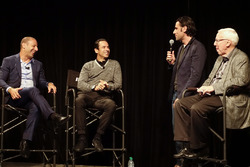 Helio Castroneves and Tony Kanaan celebrate their 20 years in IndyCar with Dario Franchitti and Gary Gerould