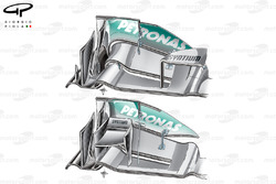 Mercedes W03 front wing (Upper specification for Italian GP with no main cascade but 'r' shaped cascade added)