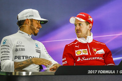 Post-race press conference: race winner Sebastian Vettel, Ferrari, second place Lewis Hamilton, Mercedes AMG F2