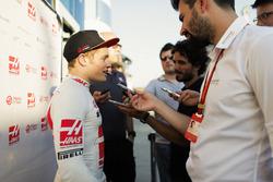 Santino Ferrucci , Haas F1 Team, talking to the press