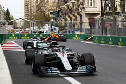 Lewis Hamilton, Mercedes AMG F1 W09, Valtteri Bottas, Mercedes AMG F1 W09, and Daniel Ricciardo, Red Bull Racing RB14 Tag Heuer