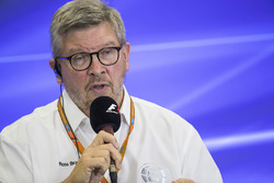 Ross Brawn, Managing Director of Motorsports, FOM, attends a press conference with representatives o