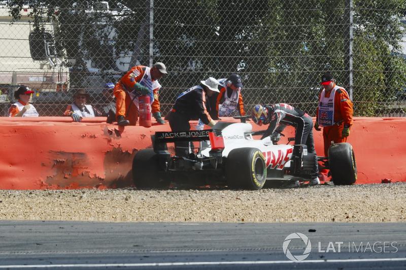 Romain Grosjean, Haas F1 Team, tras su accidente