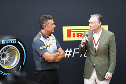 Mario Isola, Racing Manager, Pirelli Motorsport, Sean Bratches, Managing Director of Commercial Operations, Formula One Group, present the 2018 tyres to the paddock