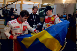 Winner Mattias Ekström with event organizer, Fredrik Johnsson and Sebastien Loeb