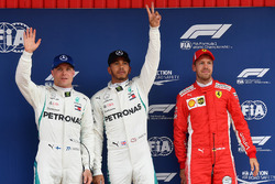 Top three qualifiers: polesitter Lewis Hamilton, Mercedes AMG F1, second place Valtteri Bottas, Mercedes AMG F1, third place Sebastian Vettel, Ferrari
