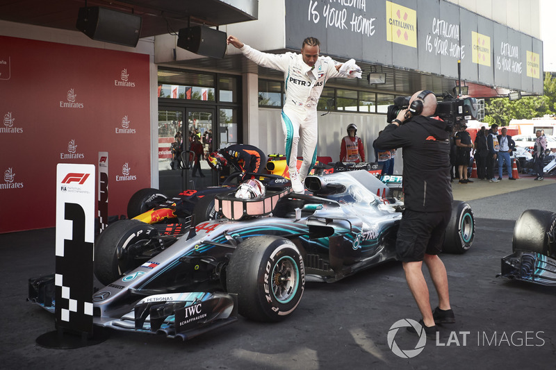Lewis Hamilton, Mercedes AMG F1 W09, 1st position, celebrates on arrival in Parc Ferme