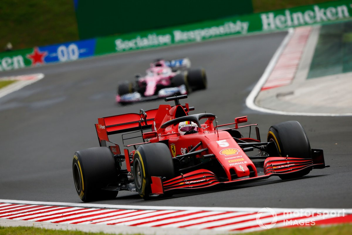 Sebastian Vettel, Ferrari SF1000, leads Sergio Perez, Racing Point RP20