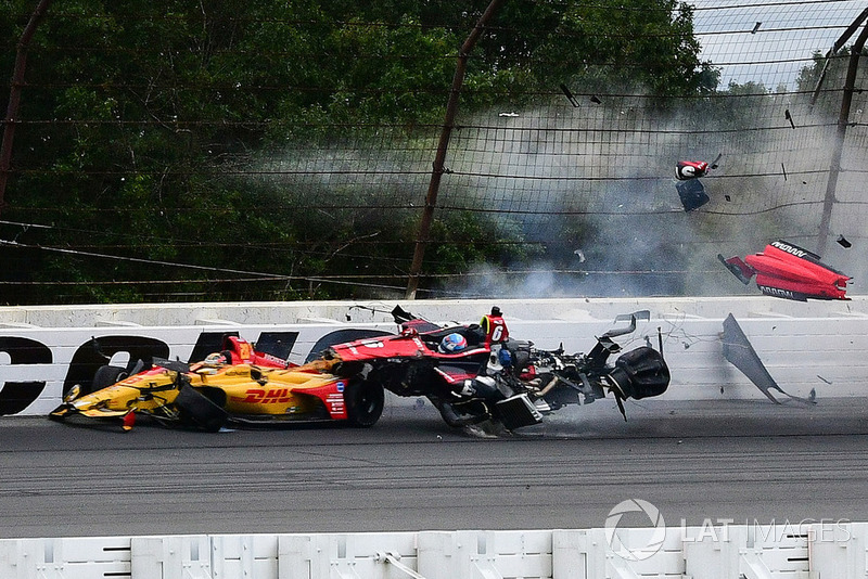 Robert Wickens, Schmidt Peterson Motorsports Honda, crash at Pocono