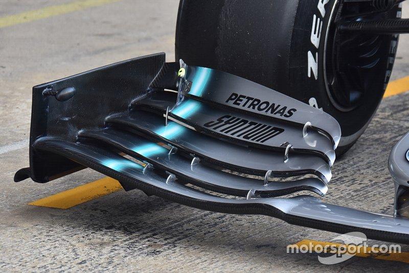 Mercedes AMG F1 detalle técnico de la nariz