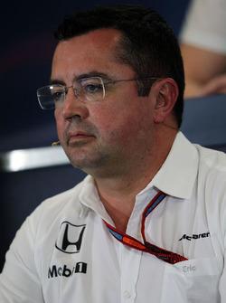 Eric Boullier, Director de carreras de McLaren en la Conferencia de prensa FIA