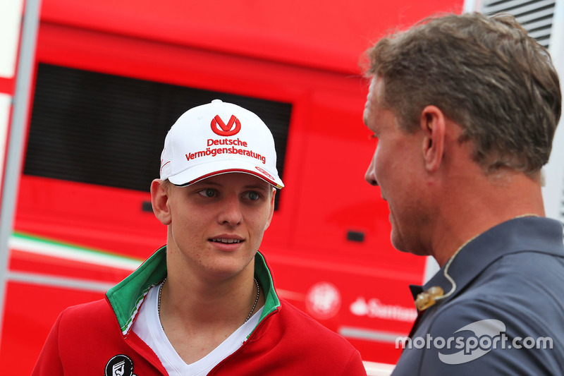 Mick Schumacher, Prema Powerteam avec David Coulthard, conseiller Red Bull Racing et Scuderia Toro / commentateur Channel 4 F1