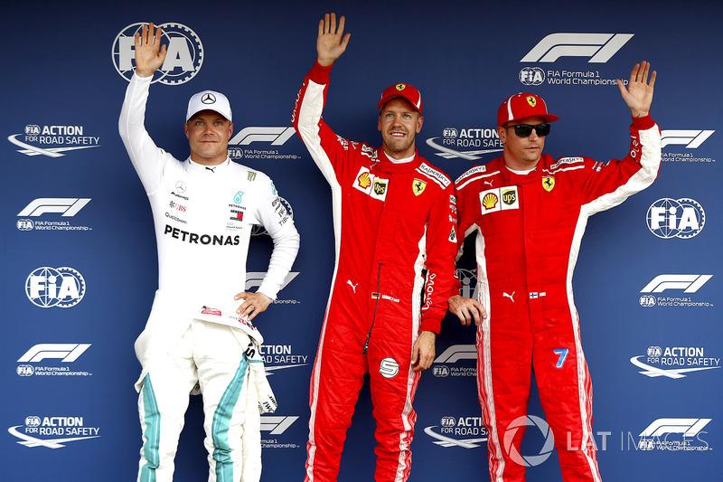 Sebastian Vettel, Ferrari, Valtteri Bottas, Mercedes AMG F1, Kimi Raikkonen, Ferrari