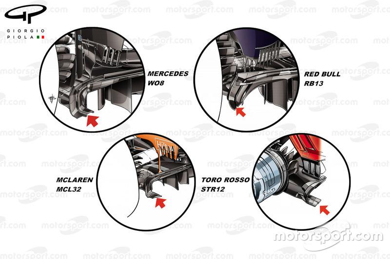 Mercedes F1 W08, Red Bull RB13, McLaren MCL32, Toro Rosso STR12: Diffusor, Vergleich